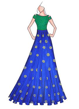 Green N Royal Blue Highwaisted Skirt N Crop Top