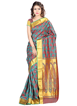 Green N Rust Art Silk Saree