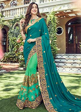 Green N Teal Half N Half Saree