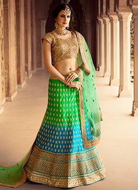 Green N Turquoise Lehenga Choli
