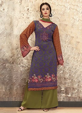 Green N Violet Crepe Palazzo Suit