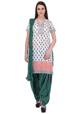 Green N White Pure Cotton Patiala Suit