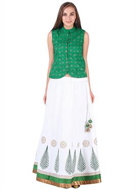 Green N White Cotton 9rasa A Line Lehenga Choli