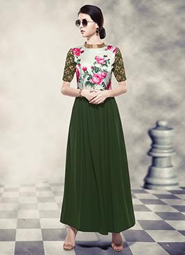 Green N White Digital Printed Anarkali Gown