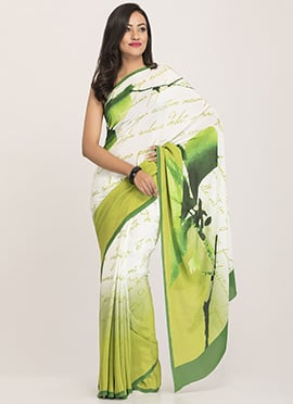Green N White Ombre Abstract Printed Saree