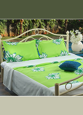 Green N White Pure Cotton Bed Sheet