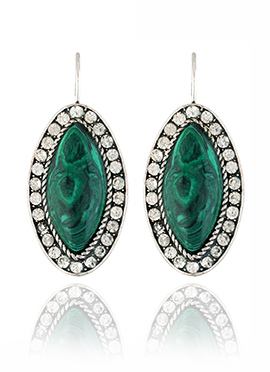 Green N White Stone Hoops Earring