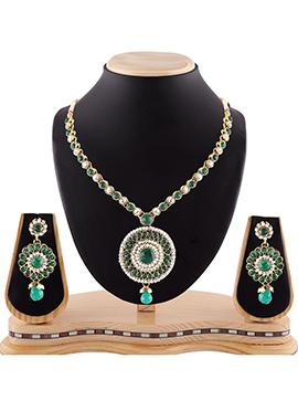 Green N White Stone Necklace Set