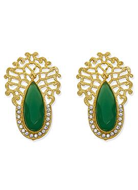 Green N White Studs Earring