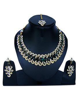 Green N White Zircon Stone Necklace Set