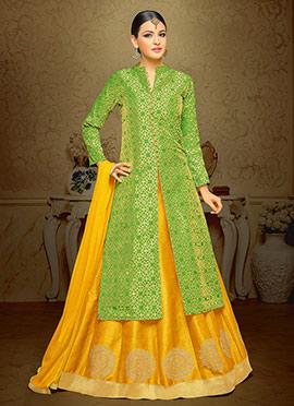 Green N Yellow Art Silk Brocade A Line Lehenga