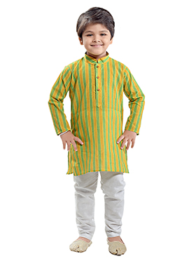 Green N Yellow Cotton Kids Kurta Pyjama