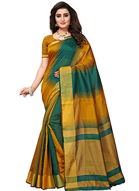 Green N Yellow Cotton Silk Saree