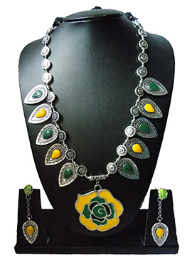 Green N Yellow Enamelled Necklace Set
