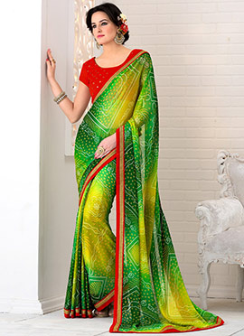 Green N Yellow Georgette Saree