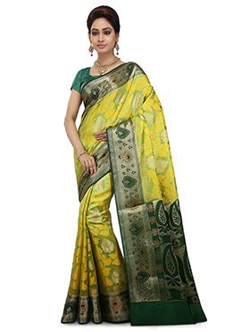Green N yellow Pure Silk Saree