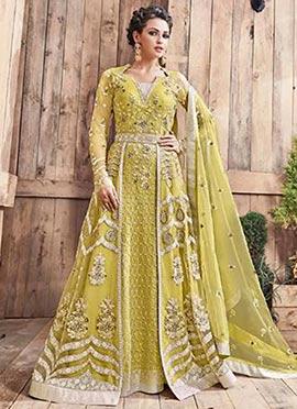 Green Net Abaya Style Anarkali Suit