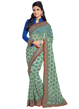 Green N Off White Net Brasso Saree