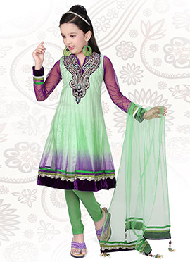Green Net Churidar Suit