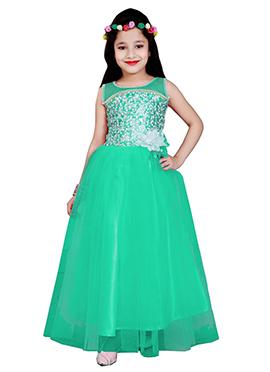 Green Net Kids Anarkali Gown