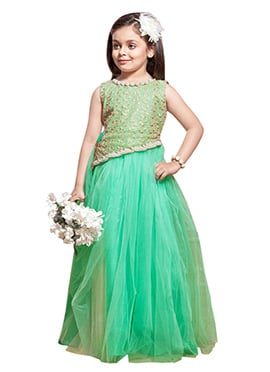 Green Net Kids Anarkali Gown