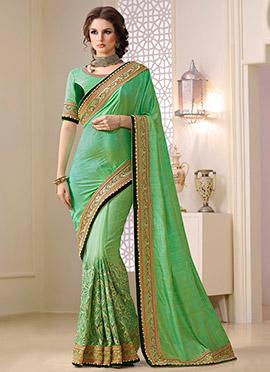 Green Net N Georgette Half N Half Saree