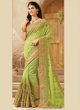 Green Net Georgette Saree