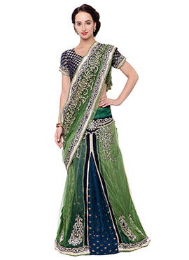 Green Net N Rayon Ready Pleated Saree