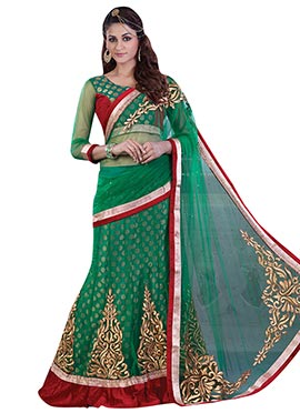 Green Net N Viscose Lehenga saree
