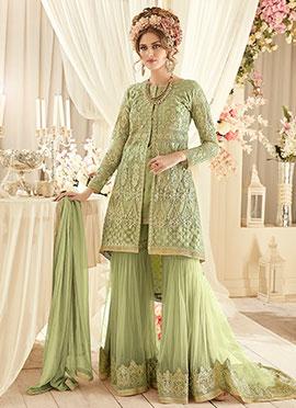 Green Net Sharara Suit