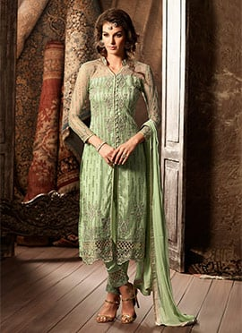 Green Net Straight Pant Suit