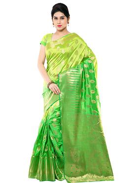 Green Ombre Art Raw Silk