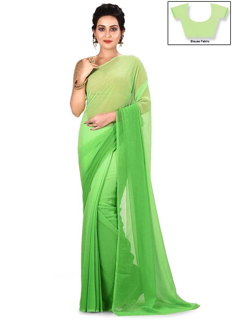 ad4c83c705a76e Buy Green Ombre Chiffon Saree, Leisure, sari Online Shopping ...