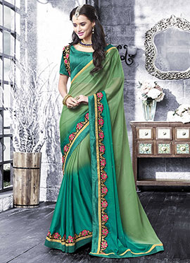 Green Ombre Chiffon Saree