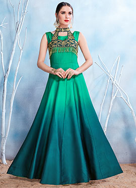 Green Ombre Embroidered Gown