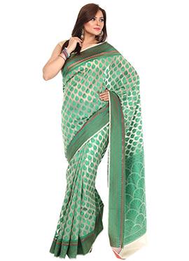 Green Organza Resham Weaved Saree