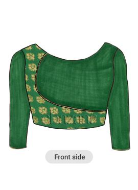 Green Overlapping Brocade Blouse