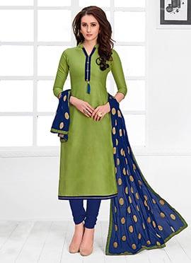 Green Plain Churidar Suit