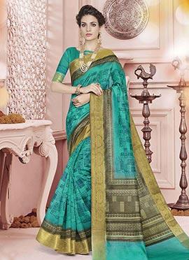 Green Polyester Saree