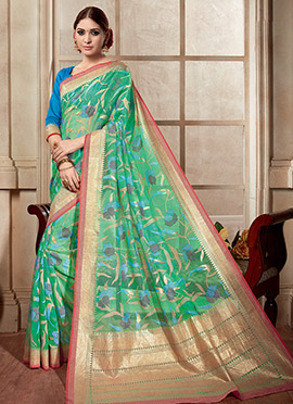 Green Printed Khadi Saree