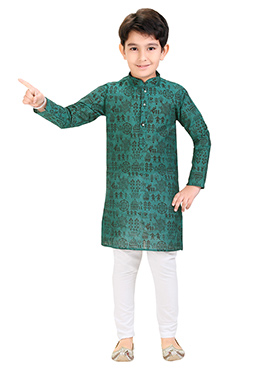 Green Printed Kids Kurta Pyjama