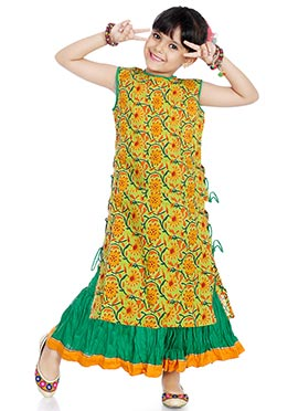 Green Printed Kids Long Choli Lehenga