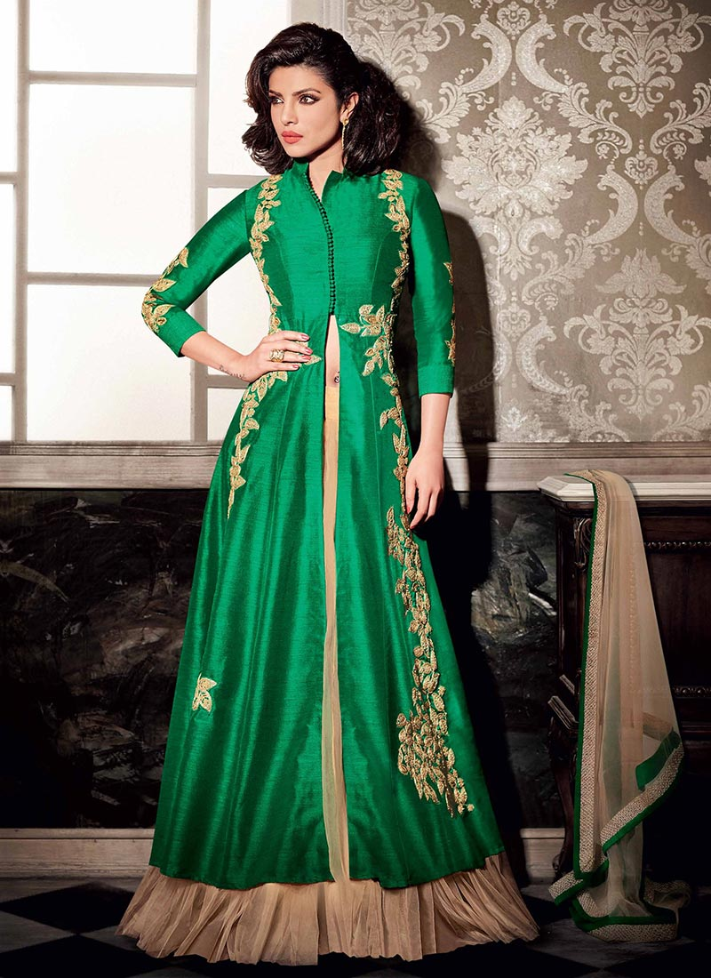 Buy Green Priyanka Chopra Long Choli Umberlla Lehenga