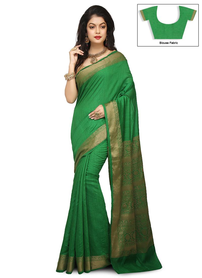 faaf918864599 Buy Green Pure Benarasi Silk Saree
