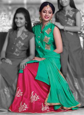 Green Pure Chanderi Silk Long Choli A Line Lehenga