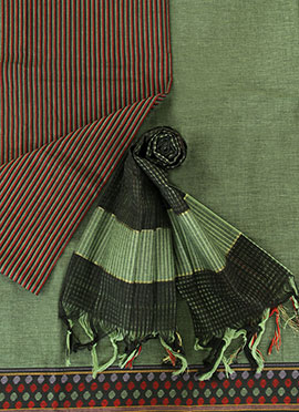 Green Pure Handloom Cotton Dress Material