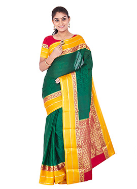 Green Pure Handloom Silk Saree