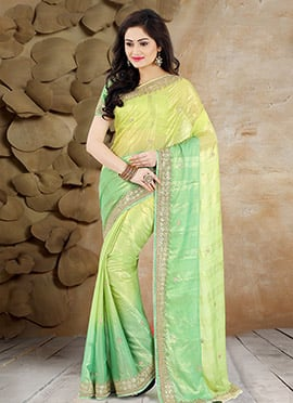 Green Pure Shimmer Georgette Saree