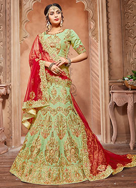 Green Pure Silk A Line Lehenga