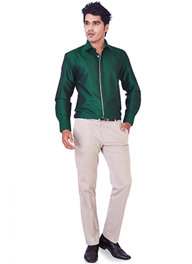 Green Pure Silk Classic Shirt
